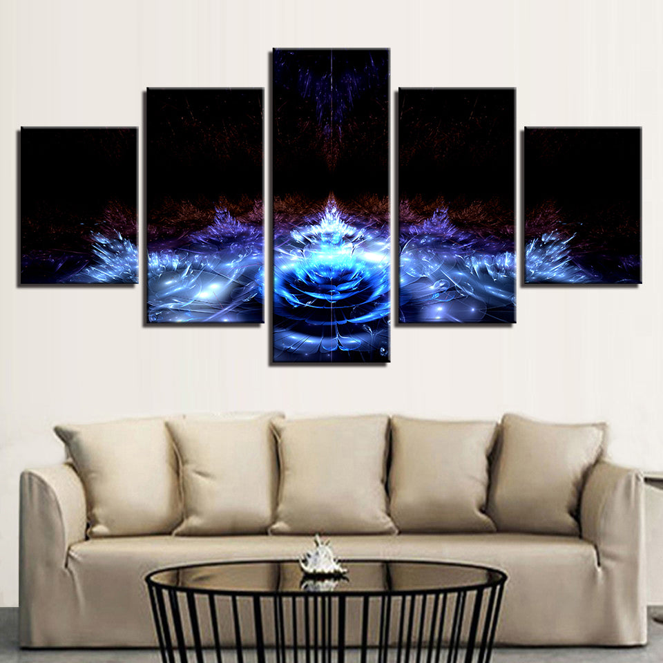Blue Water Lily Flowers 5 Piece HD Multi Panel Canvas Wall Art Frame