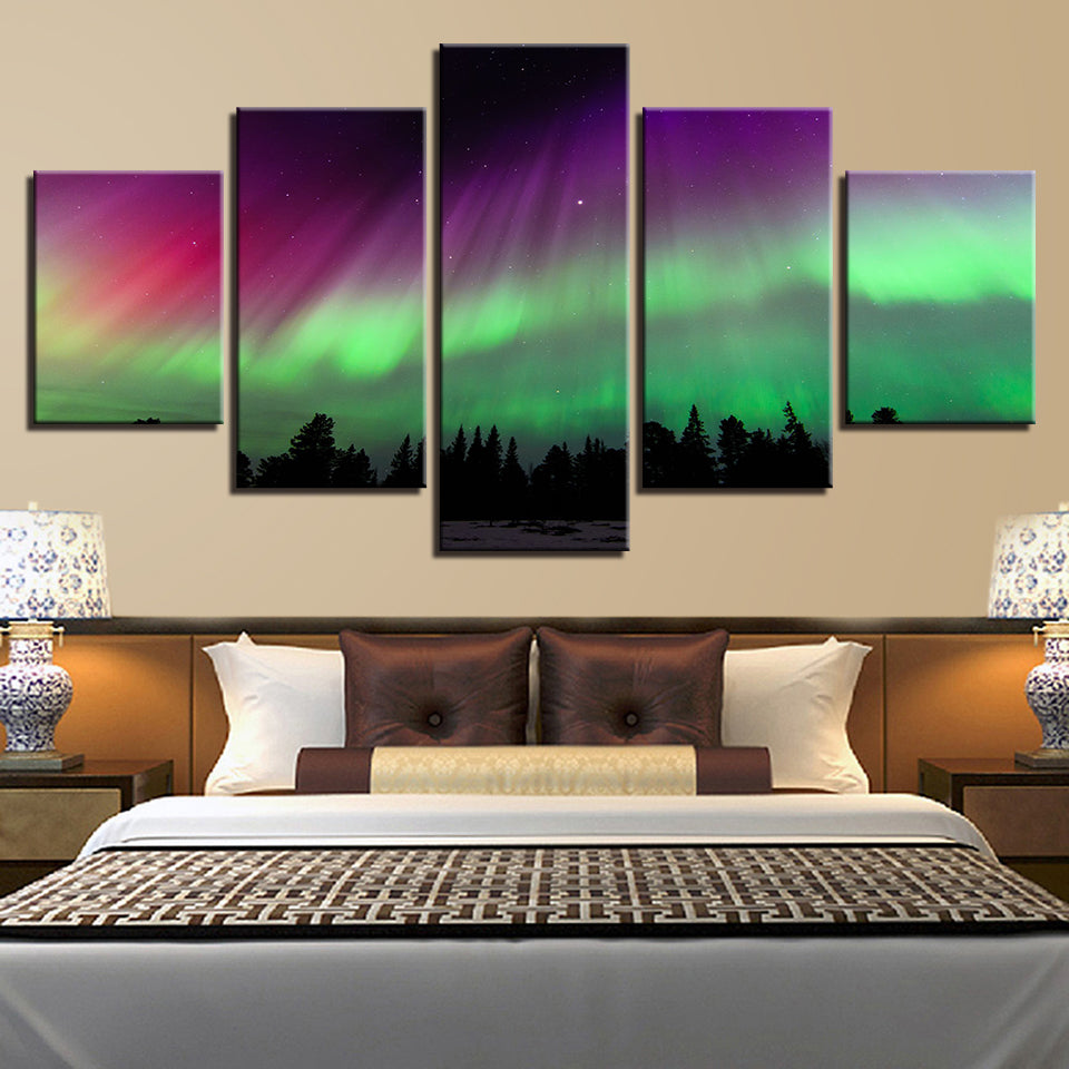 Borealis Forest 5 Piece HD Multi Panel Canvas Wall Art Frame