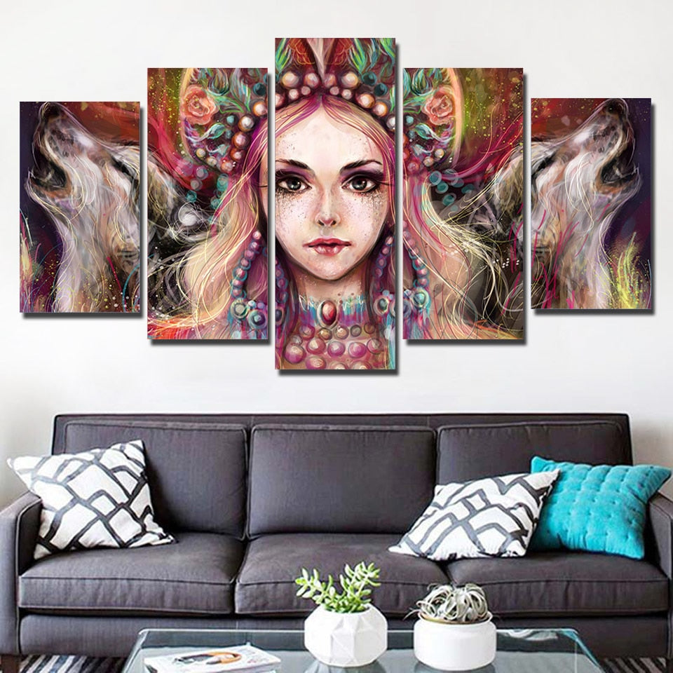 She Wolf 5 Piece HD Multi Panel Canvas Wall Art Frame