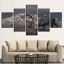 Snow Capped Mountains Deer 5 Piece HD Multi Panel Canvas Wall Art Frame