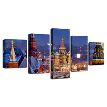 Saint Basil's Cathedral 5 Piece HD Multi Panel Canvas Wall Art Frame