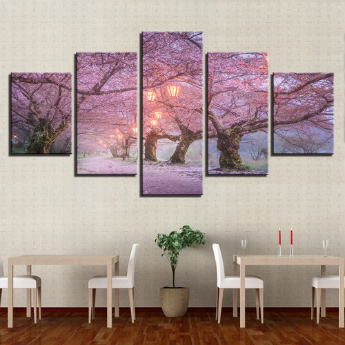 Cherry Blossom 5 Piece HD Multi Panel Canvas Wall Art Frame