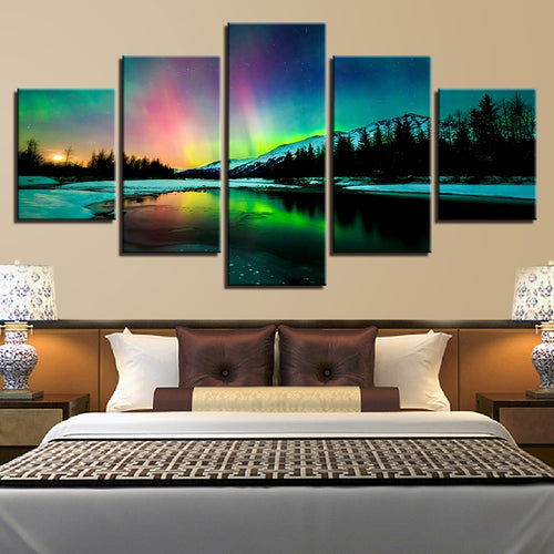 Aurora Borealis Lake 5 Piece HD Multi Panel Canvas Wall Art Frame