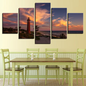 Lighthouse Dusk 5 Piece HD Multi Panel Canvas Wall Art Frame