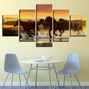 Galloping Steed 5 Piece HD Multi Panel Canvas Wall Art Frame