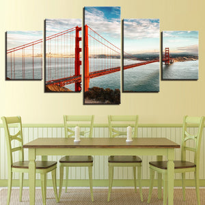Golden Gate Bridge 5 Piece HD Multi Panel Canvas Wall Art Frame