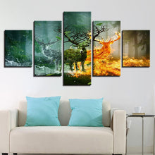 Elemental Deer Forest 5 Piece HD Multi Panel Canvas Wall Art Frame
