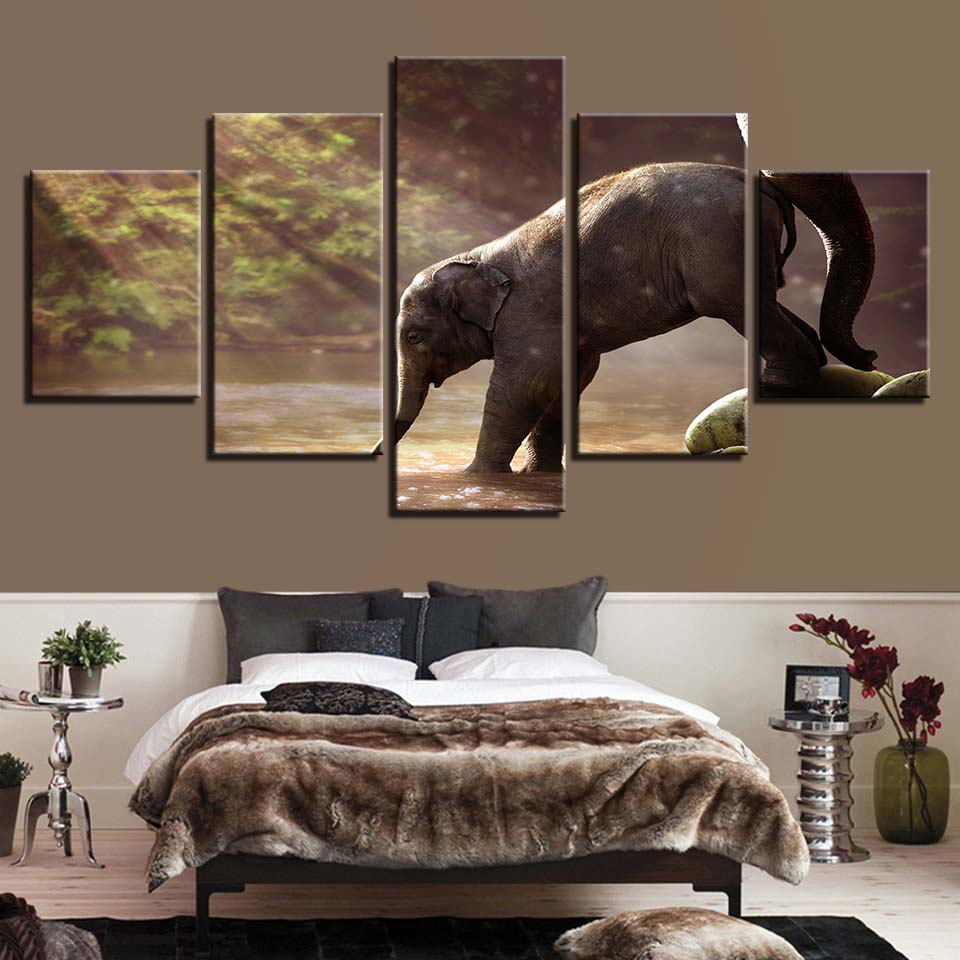 Elephant Drinking 5 Piece HD Multi Panel Canvas Wall Art Frame