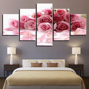 Pink Roses Bouquet 5 Piece HD Multi Panel Canvas Wall Art Frame