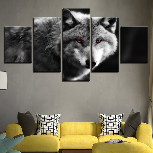 Red Eyed Wolf 5 Piece HD Multi Panel Canvas Wall Art Frame