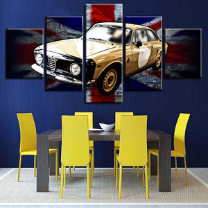 British Flag And Yellow Car 5 Piece HD Multi Panel Canvas Wall Art Frame