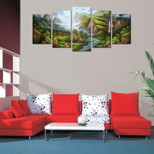 Cyan Mountain 5 Piece HD Multi Panel Canvas Wall Art Frame