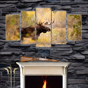 Old Elk In Forest 5 Piece HD Multi Panel Canvas Wall Art Frame