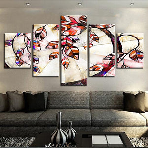 Stylized Tree Poster 5 Piece HD Multi Panel Canvas Wall Art Frame