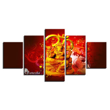 Hindu God Ganesha 5 Piece HD Multi Panel Canvas Wall Art Frame