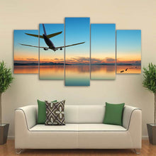 Airplane Sunset 5 Piece HD Multi Panel Canvas Wall Art Frame