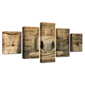 Statue Of Buddha 5 Piece HD Multi Panel Canvas Wall Art Frame