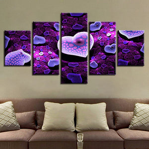 Purple Hearts On Snake 5 Piece HD Multi Panel Canvas Wall Art Frame
