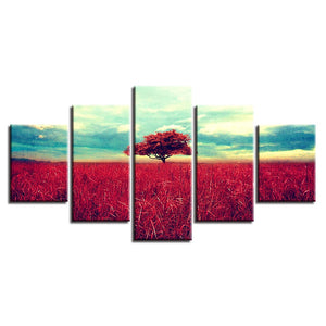 Red Tree & Grasslands 5 Piece HD Multi Panel Canvas Wall Art Frame