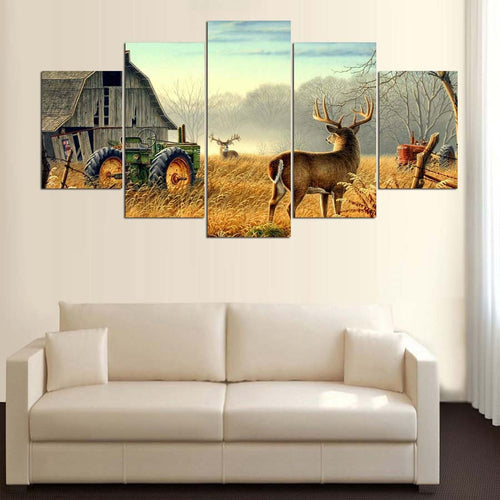 Whitetail Deer 5 Piece HD Multi Panel Canvas Wall Art Frame