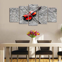 Music Red Guitar 5 Piece HD Multi Panel Canvas Wall Art Frame