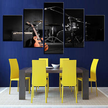 Music Guitar Drum 5 Piece HD Multi Panel Canvas Wall Art Frame