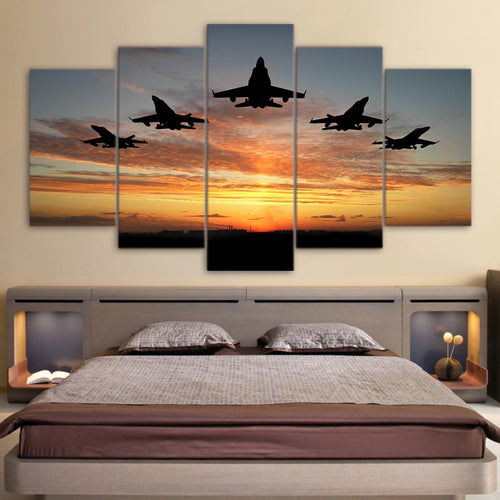 Flying Airplanes Sunset 5 Piece HD Multi Panel Canvas Wall Art Frame