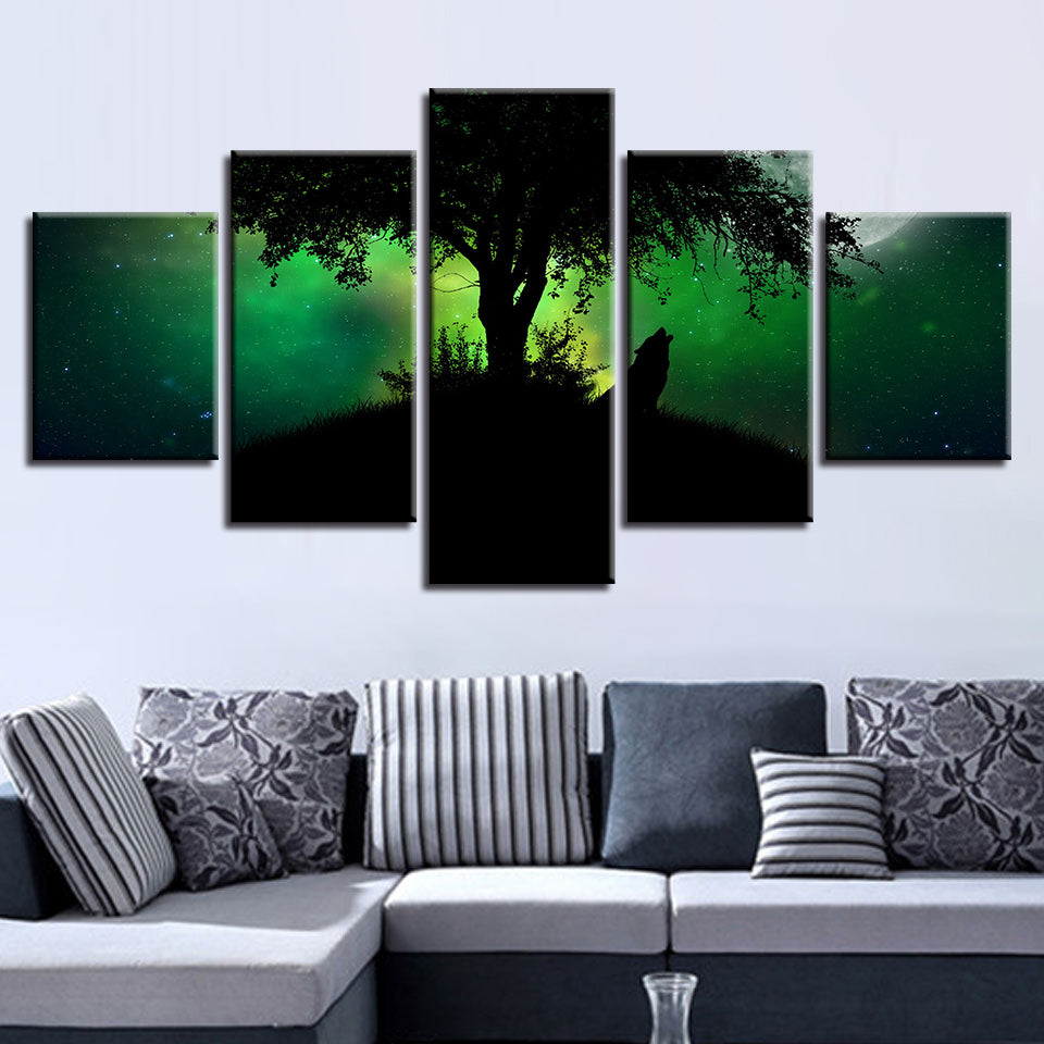 Green Forest Night Wolf Howl 5 Piece HD Multi Panel Canvas Wall Art Frame