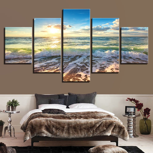 Sunshine Beach Waves 5 Piece HD Multi Panel Canvas Wall Art Frame