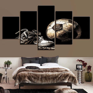 Dirty Football 5 Piece HD Multi Panel Canvas Wall Art Frame