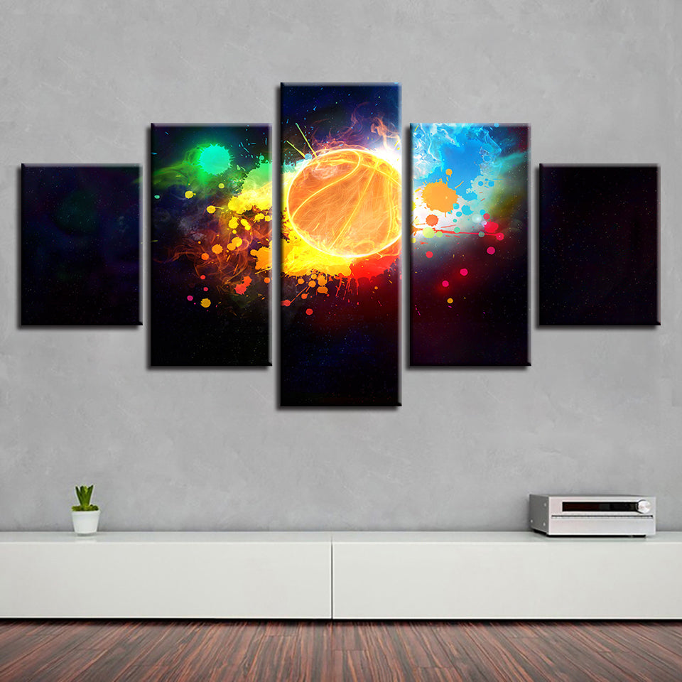 Colorful Basketball 5 Piece HD Multi Panel Canvas Wall Art Frame