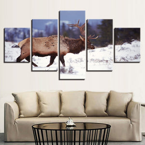 Deer in the Snow 5 Piece HD Multi Panel Canvas Wall Art Frame