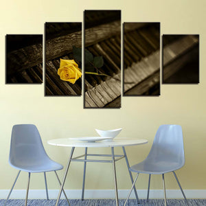 Yellow Rose Flower 5 Piece HD Multi Panel Canvas Wall Art Frame