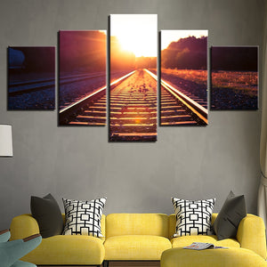 Sunset Track 5 Piece HD Multi Panel Canvas Wall Art Frame
