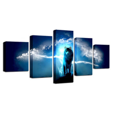 Night Wolf 5 Piece HD Multi Panel Canvas Wall Art Frame