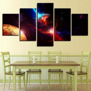 Cosmos 5 Piece HD Multi Panel Canvas Wall Art Frame