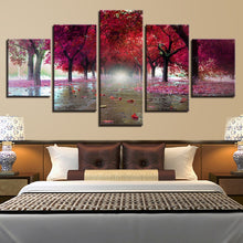 Purple Red Trees 5 Piece HD Multi Panel Canvas Wall Art Frame