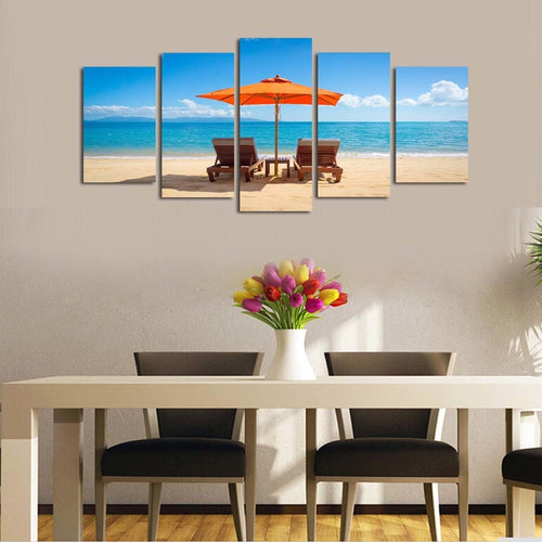 Beach Time With Family 5 Piece HD Multi Panel Canvas Wall Art Frame