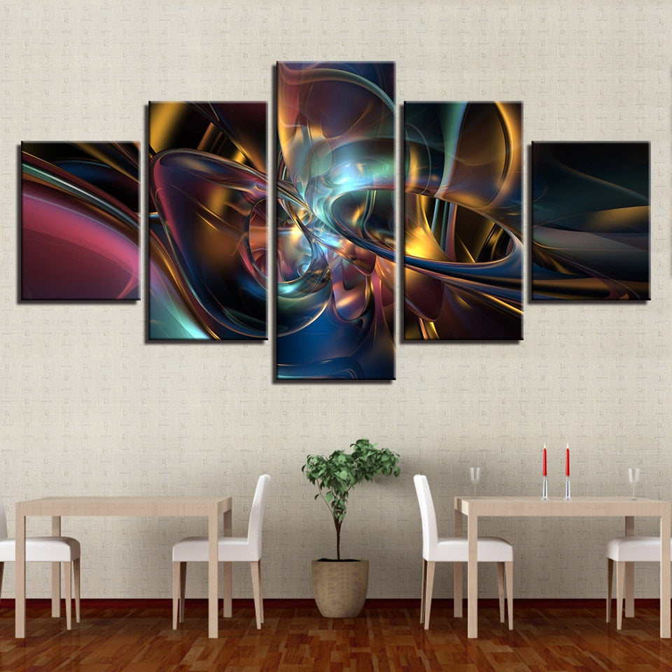 Colorful Psychedelic Art 5 Piece Hd Multi Panel Canvas Wall Art Frame Original Frame