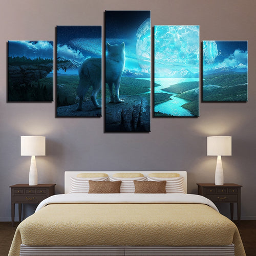 Full Moon Night 5 Piece HD Multi Panel Canvas Wall Art Frame