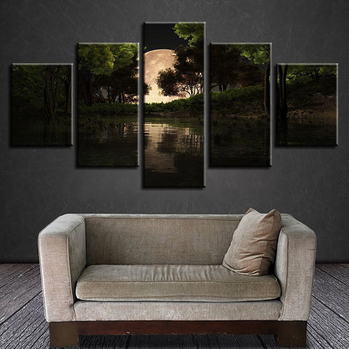 Moon Forest 5 Piece HD Multi Panel Canvas Wall Art Frame