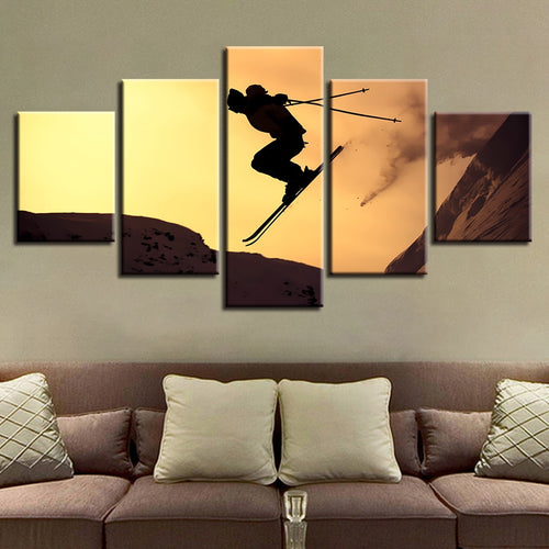 Sunset Skiing 5 Piece HD Multi Panel Canvas Wall Art Frame