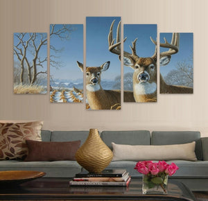 Elk In Forest 5 Piece HD Multi Panel Canvas Wall Art Frame