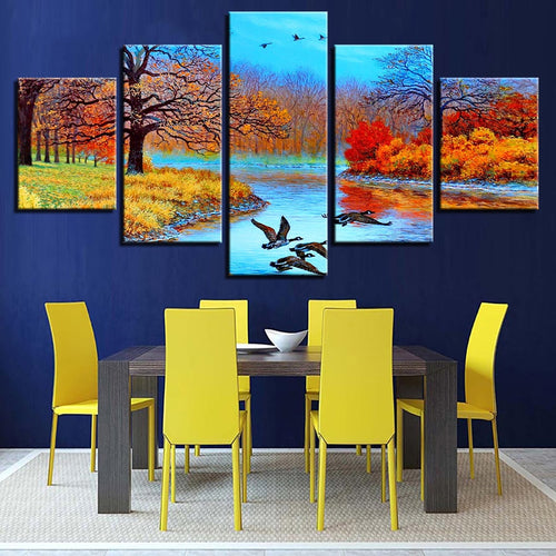 Abstract Forest Lake & Birds 5 Piece HD Multi Panel Canvas Wall Art Frame