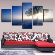Lonely Tree In The Snow 5 Piece HD Multi Panel Canvas Wall Art Frame