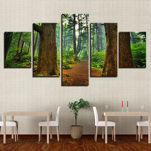 Forest Trees Trunk 5 Piece HD Multi Panel Canvas Wall Art Frame