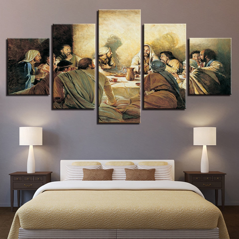 Jesus Abstract 5 Piece HD Multi Panel Canvas Wall Art Frame