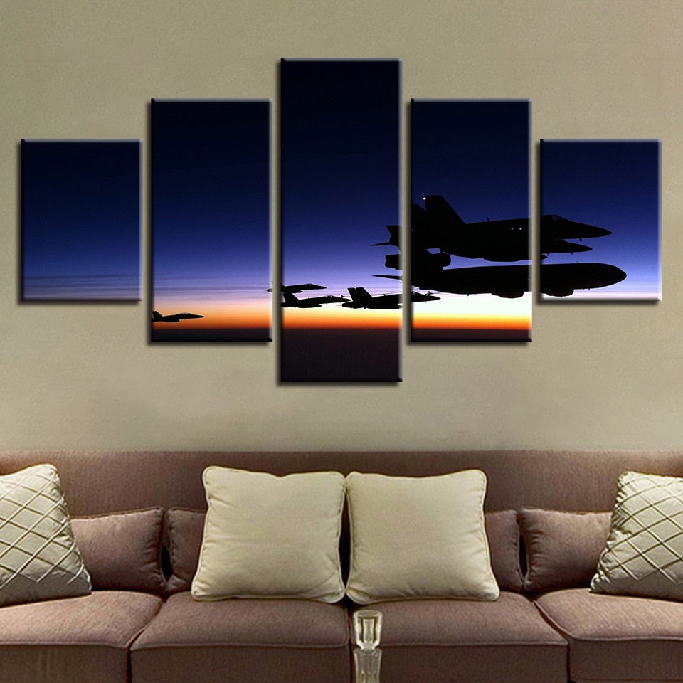 Airplanes Fly Sunset 5 Piece HD Multi Panel Canvas Wall Art Frame