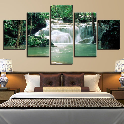 Forest Lake Waterfall 5 Piece HD Multi Panel Canvas Wall Art Frame