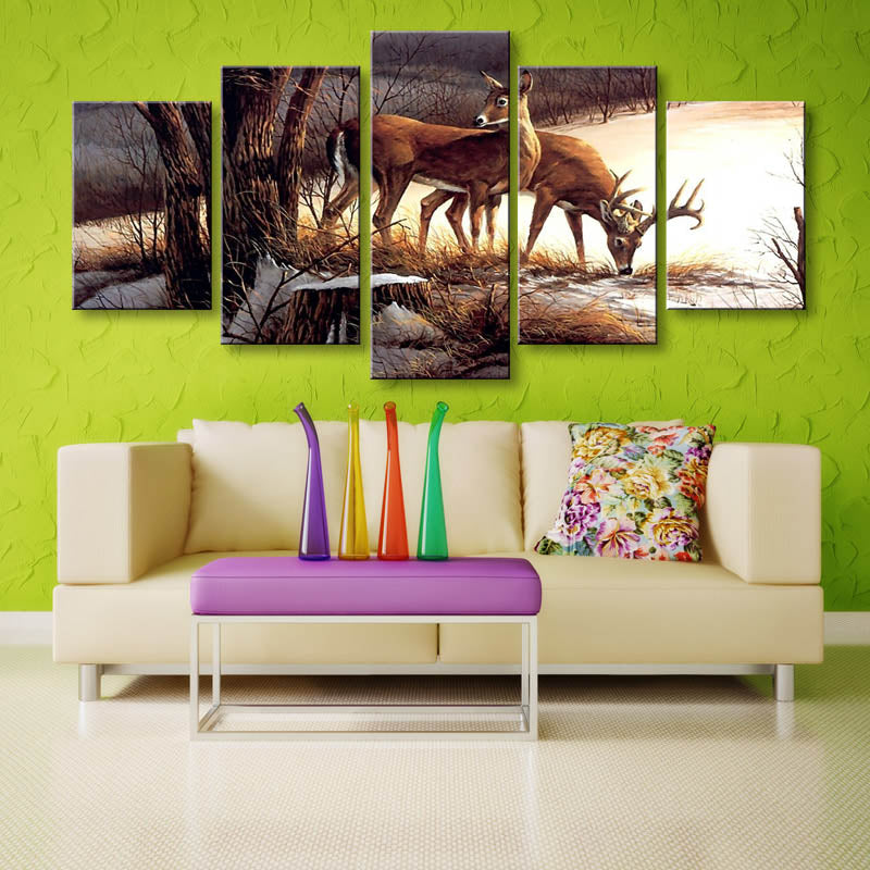 Deers 5 Piece HD Multi Panel Canvas Wall Art Frame
